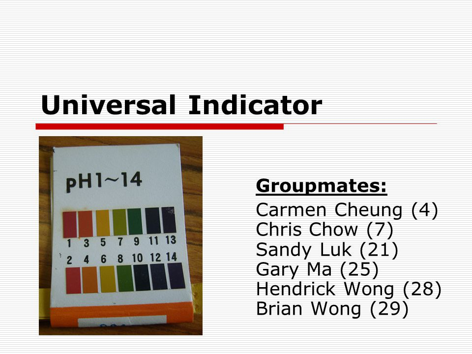 Universal Indicator Groupmates: