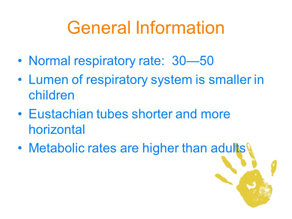 General Information Normal respiratory rate: 30—50