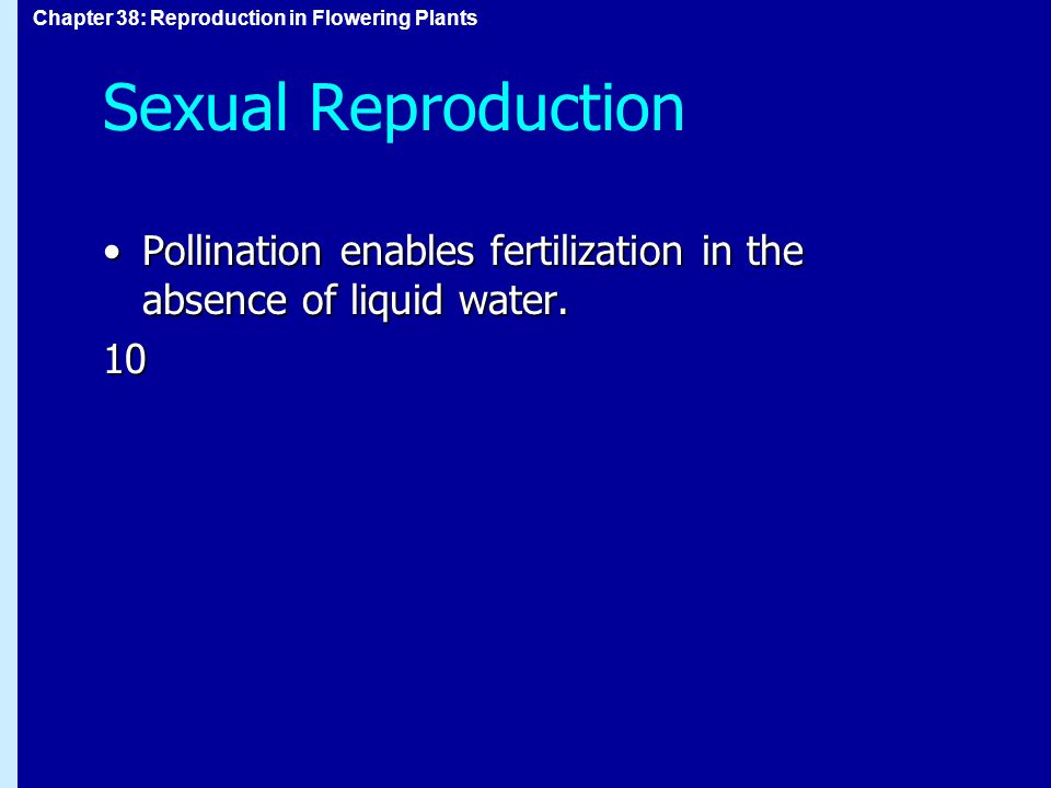 Sexual Reproduction Pollination enables fertilization in the absence of liquid water. 10