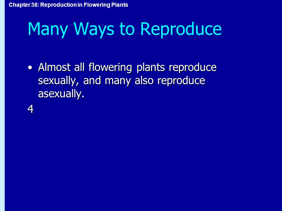 Many Ways to Reproduce Almost all flowering plants reproduce sexually, and many also reproduce asexually.