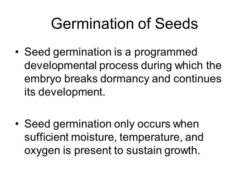 Germination of Seeds Seed germination is a programmed developmental process during which the embryo breaks dormancy and continues its development.