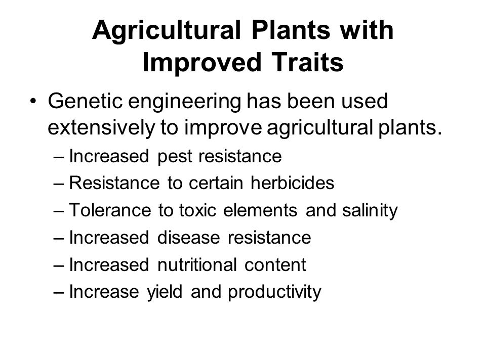 Agricultural Plants with Improved Traits