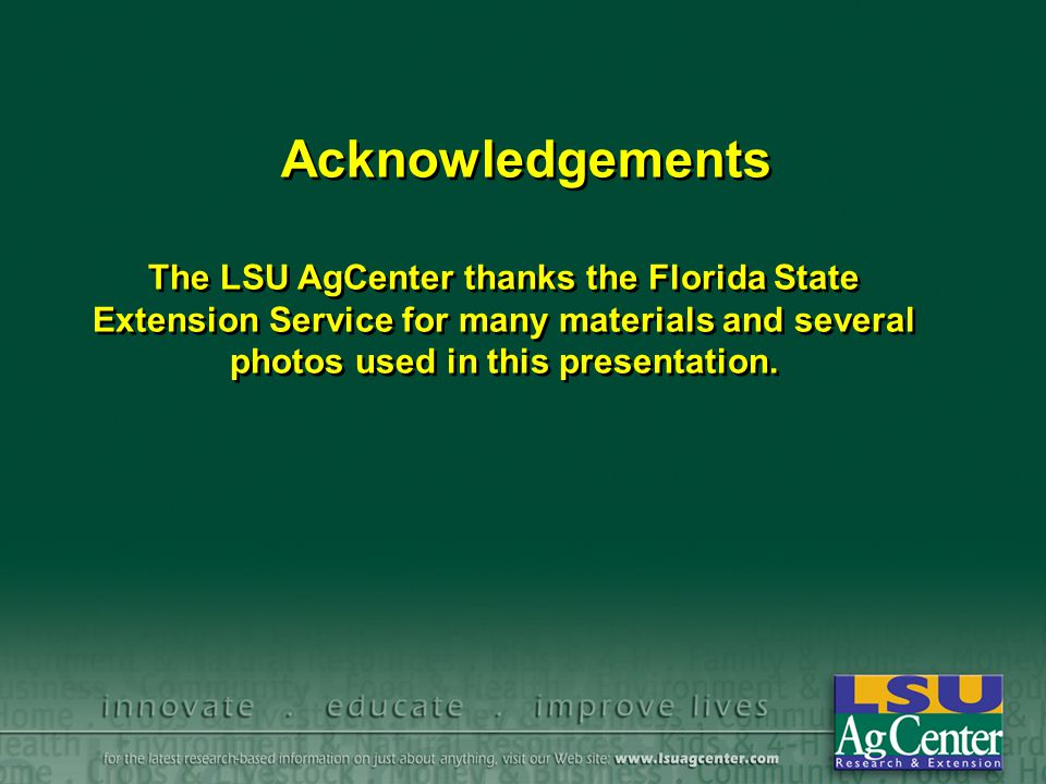 Acknowledgements The LSU AgCenter thanks the Florida State