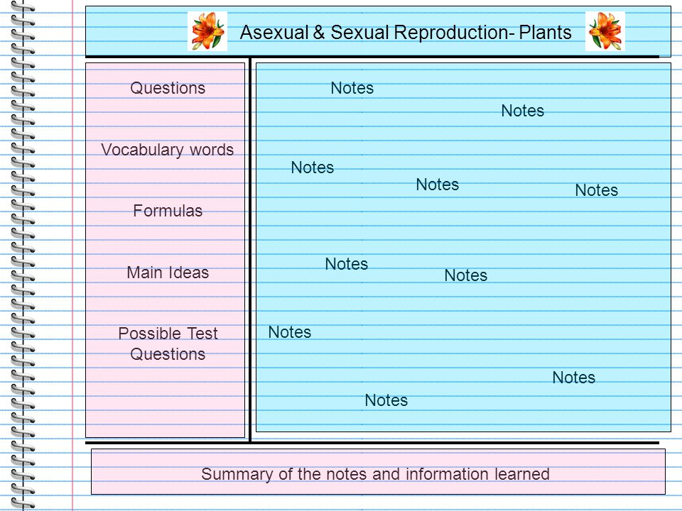 Asexual & Sexual Reproduction- Plants