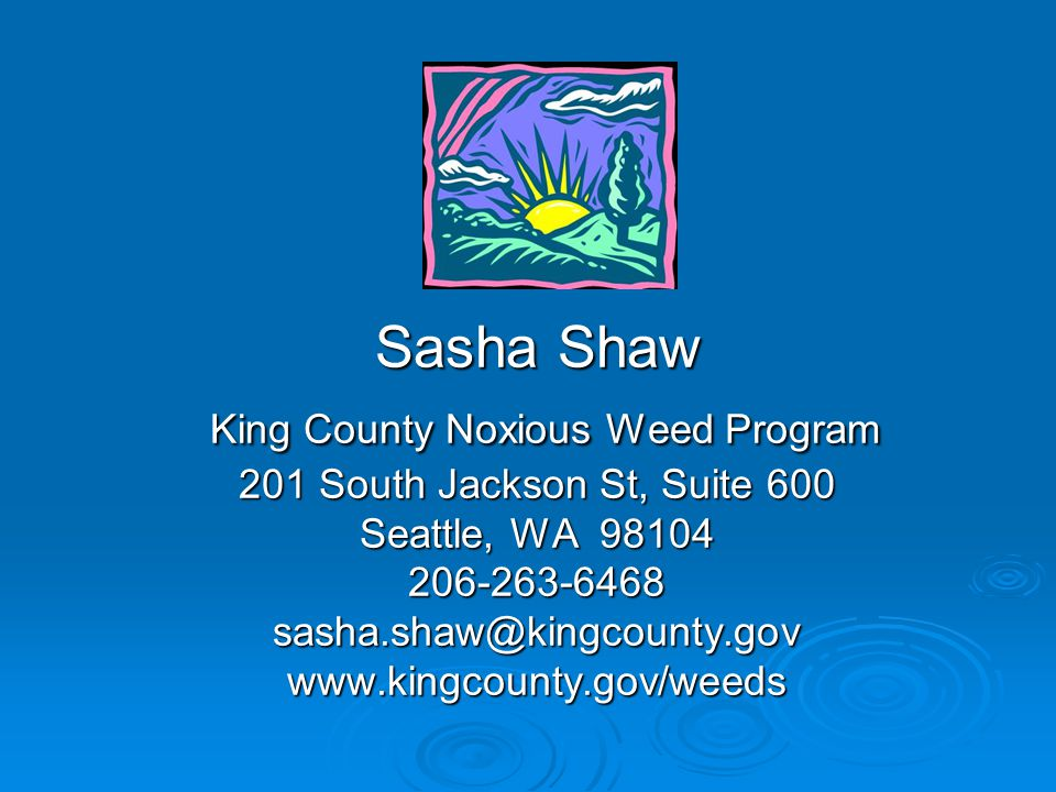 Sasha Shaw King County Noxious Weed Program 201 South Jackson St, Suite 600 Seattle, WA 98104 206-263-6468 sasha.shaw@kingcounty.gov www.kingcounty.gov/weeds