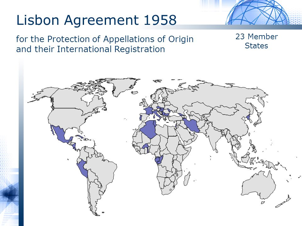 Lisbon Agreement 1958 for the Protection of Appellations of Origin and their International Registration
