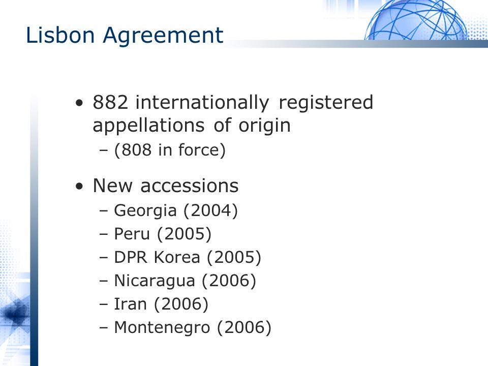 Lisbon Agreement 882 internationally registered appellations of origin