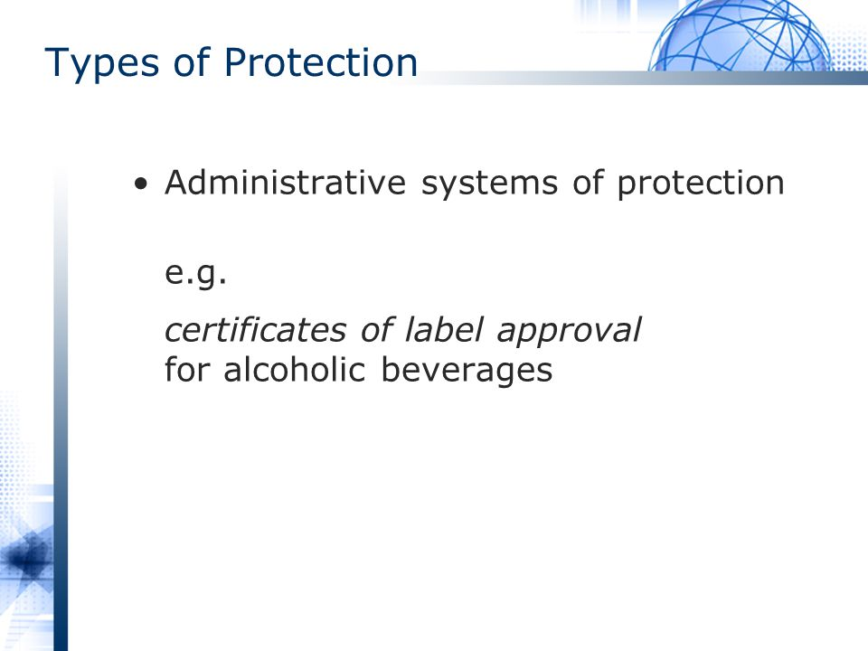 Types of Protection Administrative systems of protection