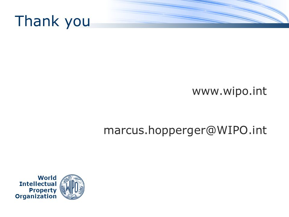www.wipo.int marcus.hopperger@WIPO.int