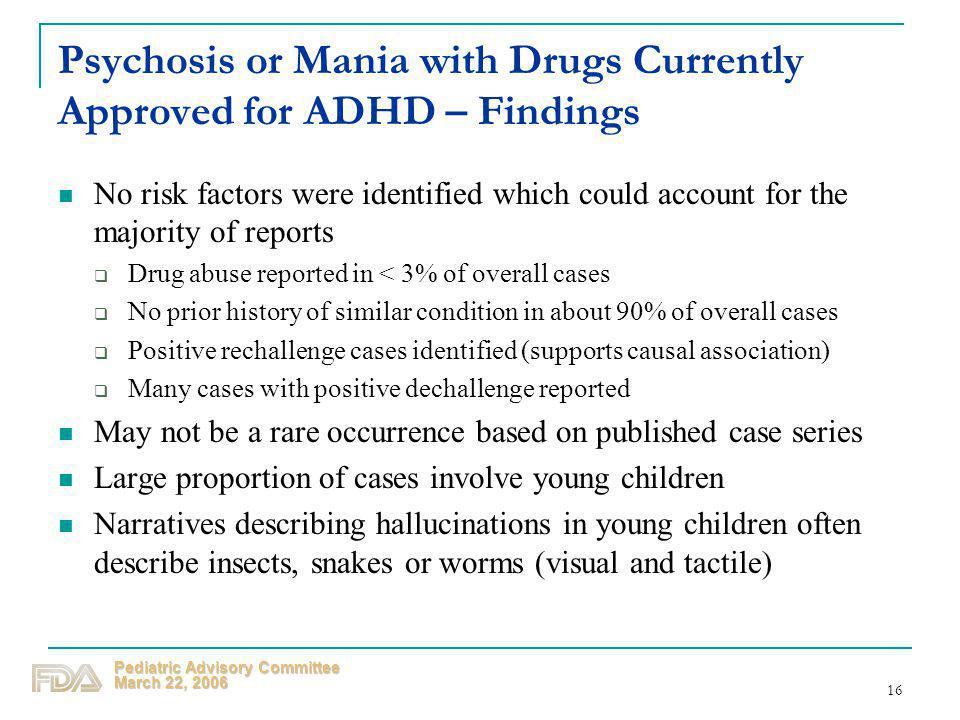 Psychosis or Mania with Drugs Currently Approved for ADHD – Findings