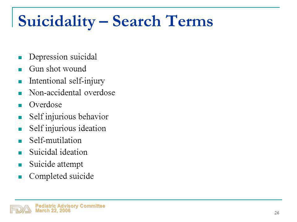 Suicidality – Search Terms
