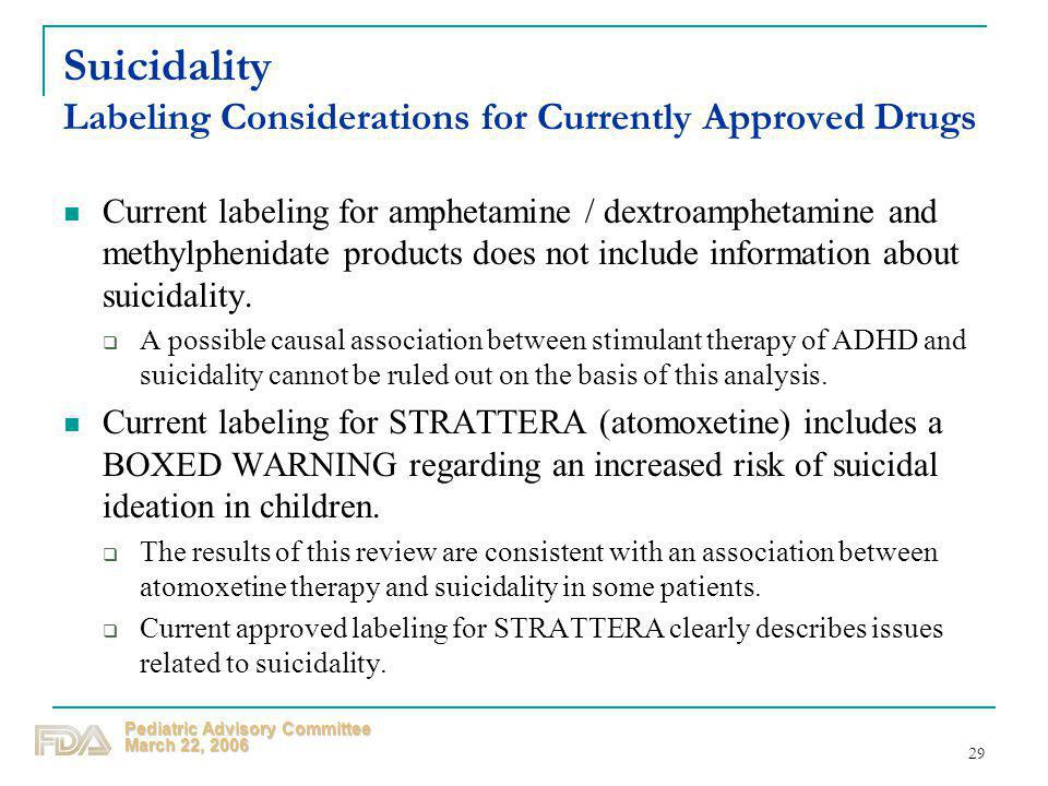 Suicidality Labeling Considerations for Currently Approved Drugs