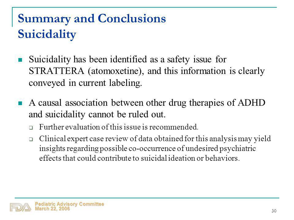 Summary and Conclusions Suicidality