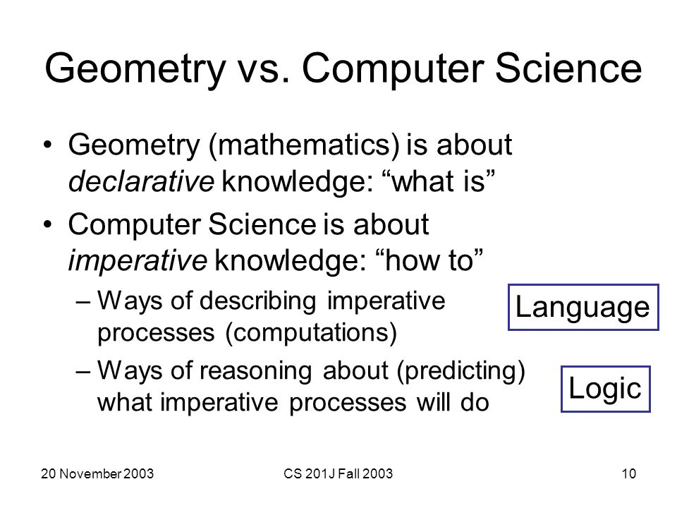 Geometry vs. Computer Science