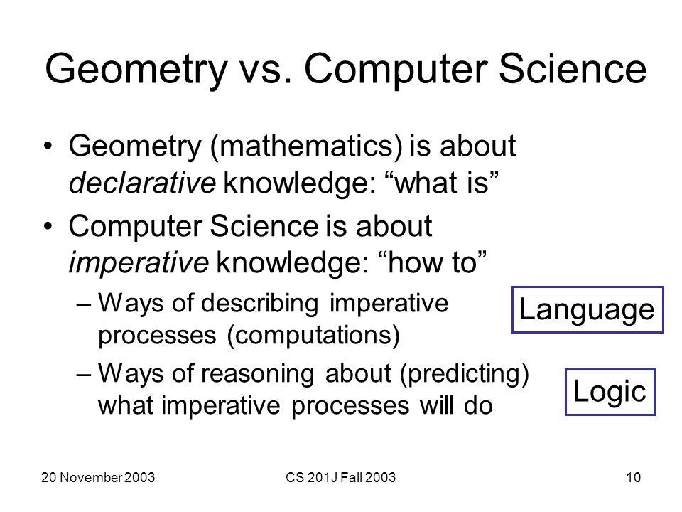Geometry vs. Computer Science