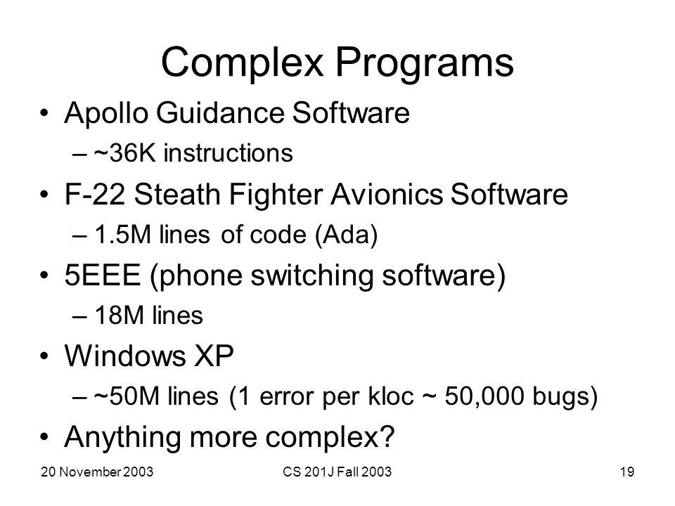 Complex Programs Apollo Guidance Software