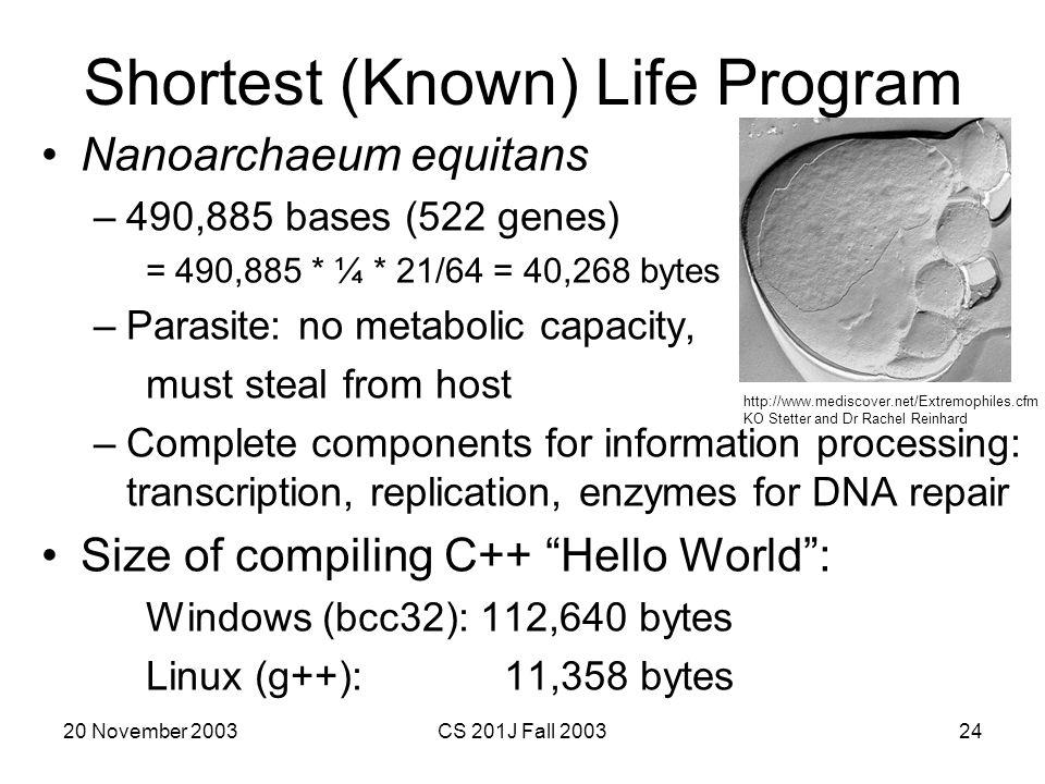 Shortest (Known) Life Program
