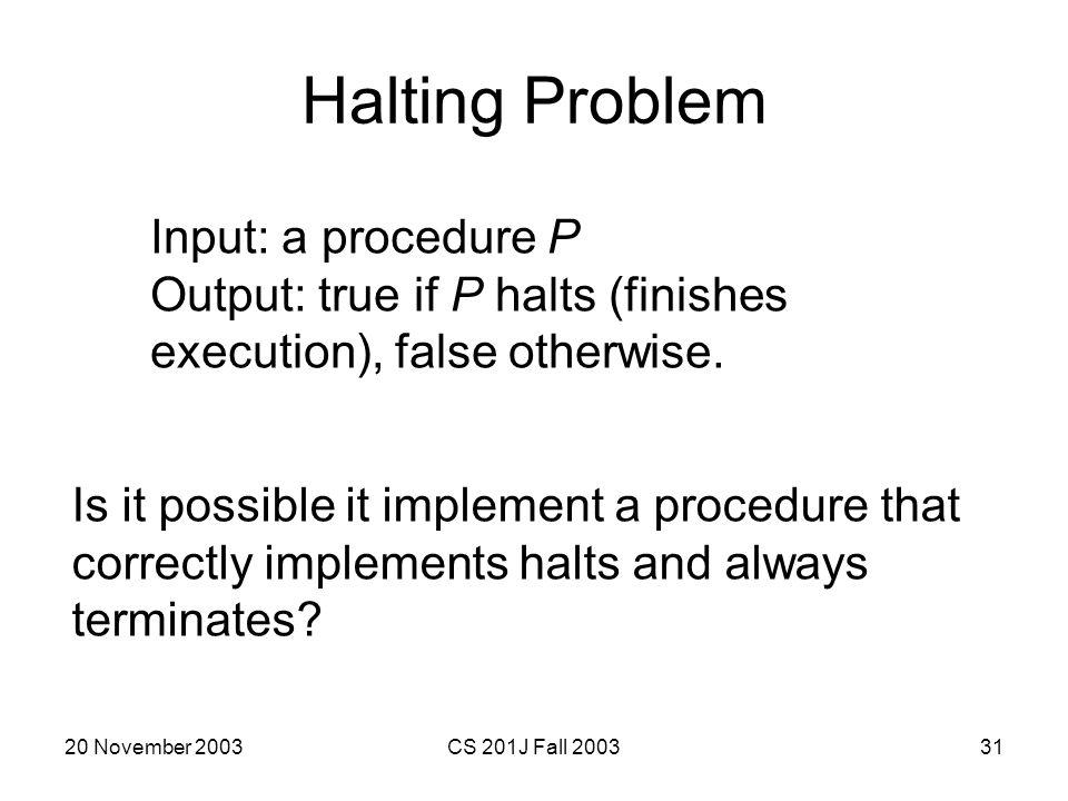 Halting Problem Input: a procedure P