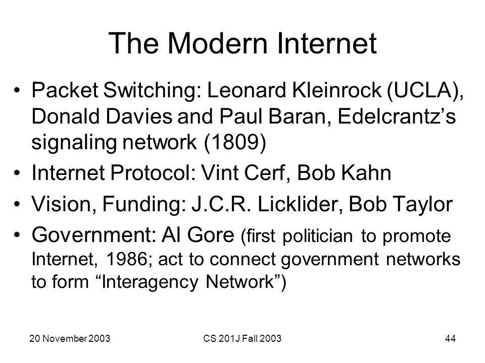 The Modern Internet Packet Switching: Leonard Kleinrock (UCLA), Donald Davies and Paul Baran, Edelcrantz's signaling network (1809)