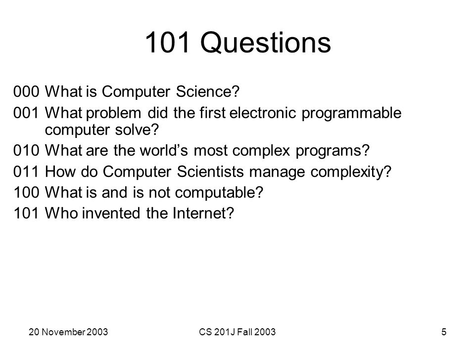 101 Questions 000 What is Computer Science