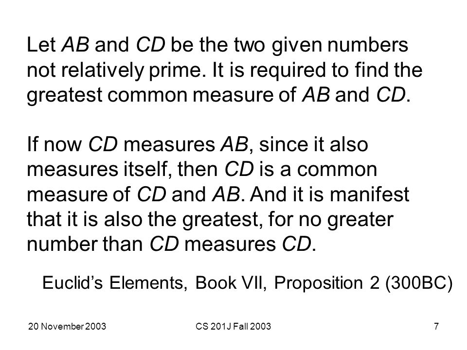 Let AB and CD be the two given numbers not relatively prime