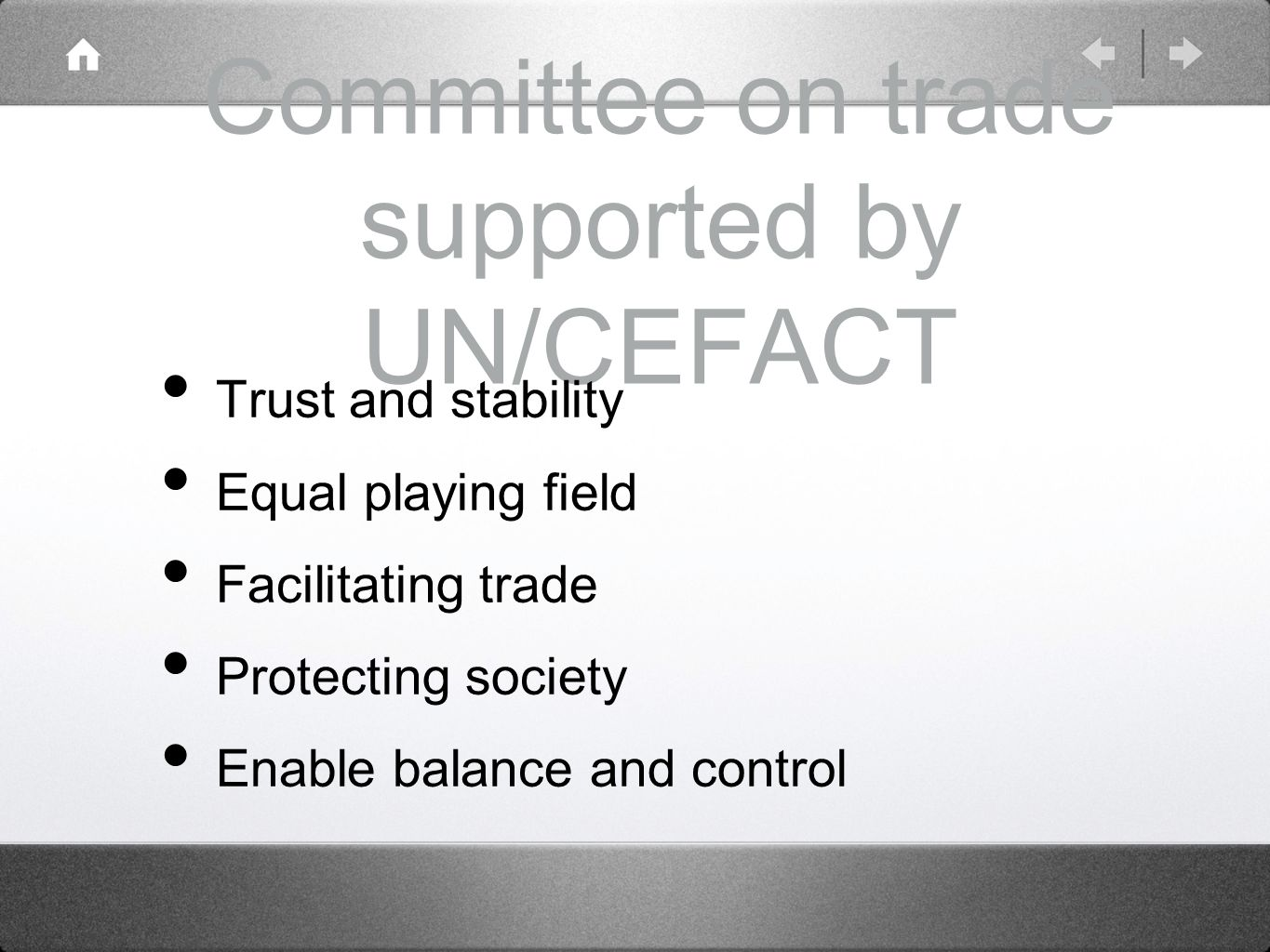 Committee on trade supported by UN/CEFACT