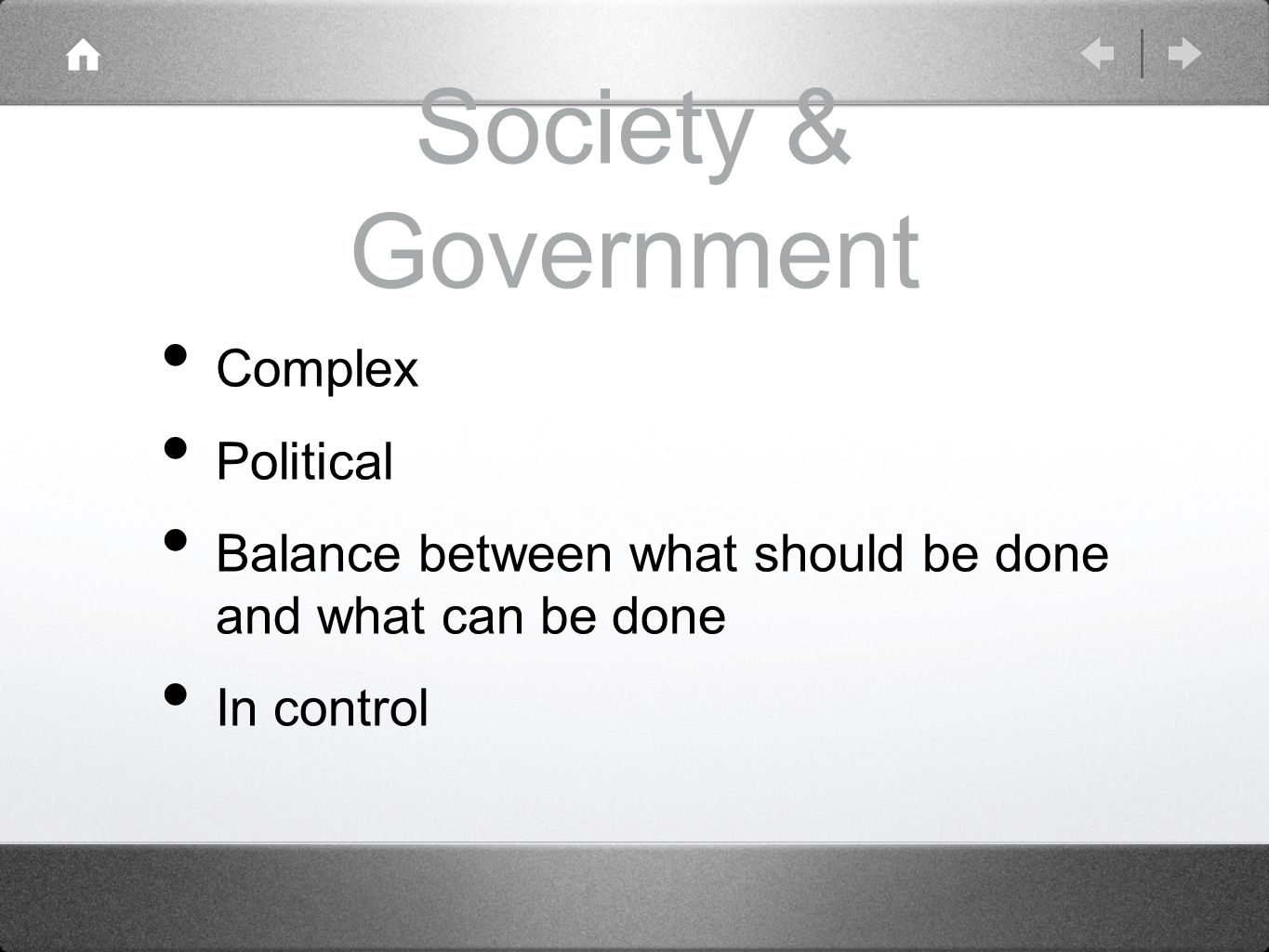 Society & Government Complex Political