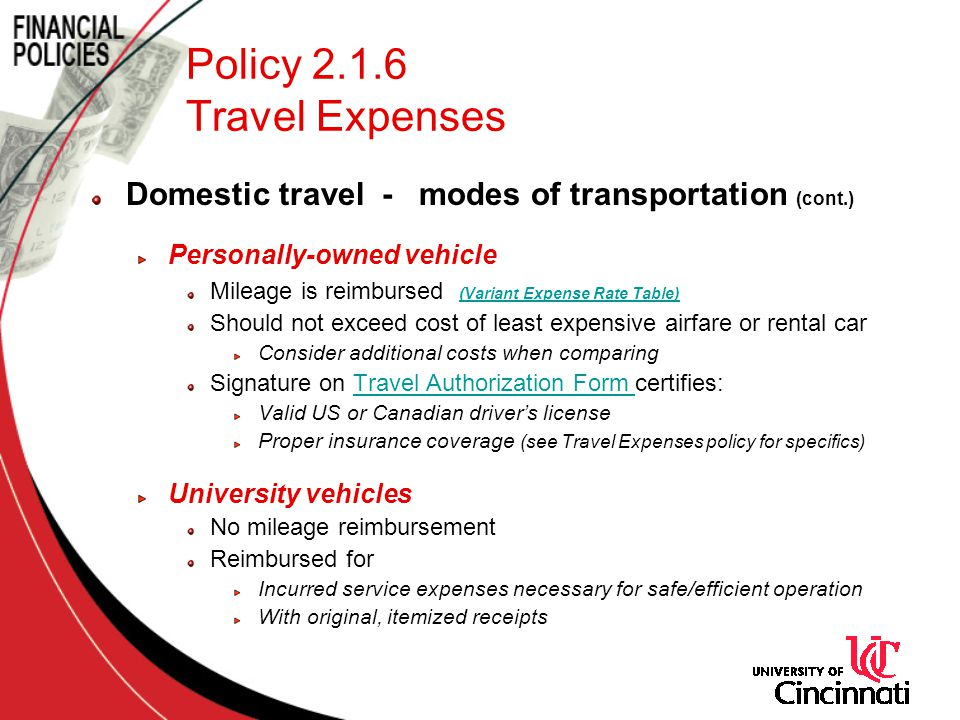 Policy 2.1.6 Travel Expenses