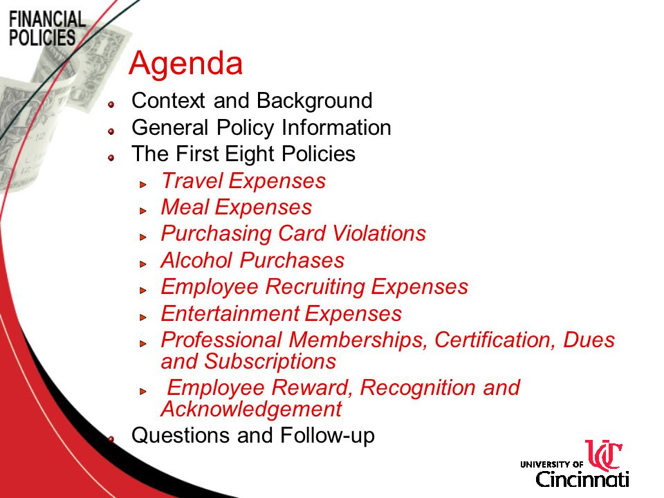 Agenda Context and Background General Policy Information