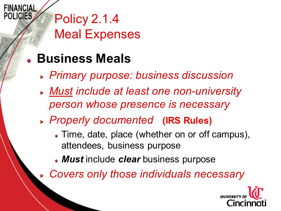 Policy 2.1.4 Meal Expenses Business Meals