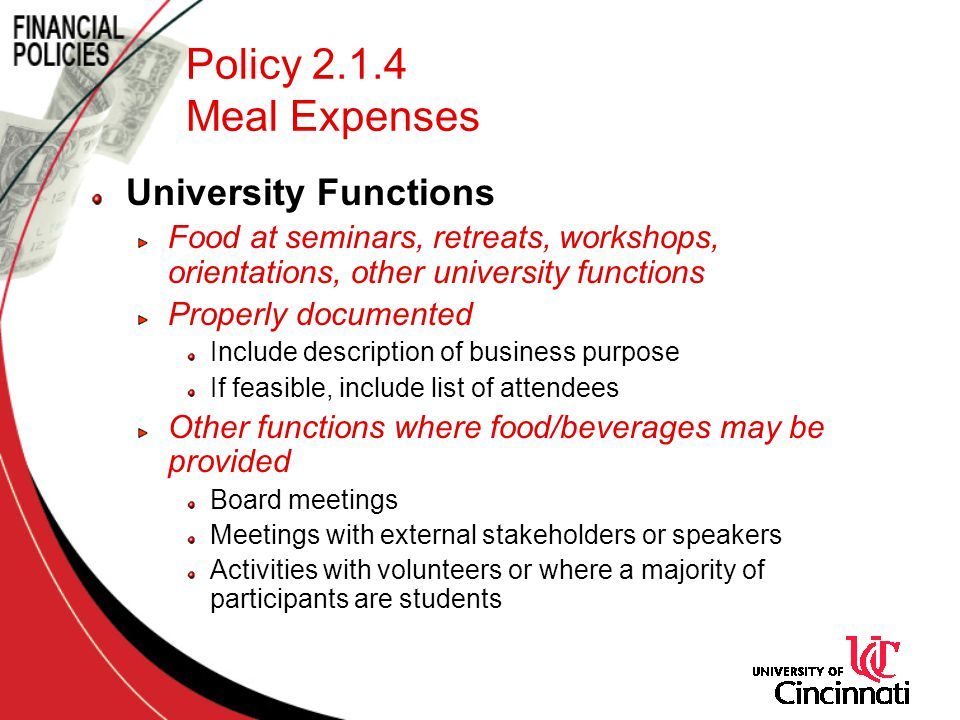 Policy 2.1.4 Meal Expenses University Functions