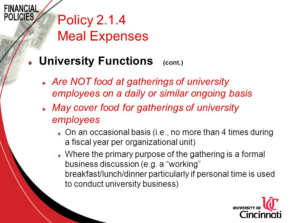 Policy 2.1.4 Meal Expenses University Functions (cont.)