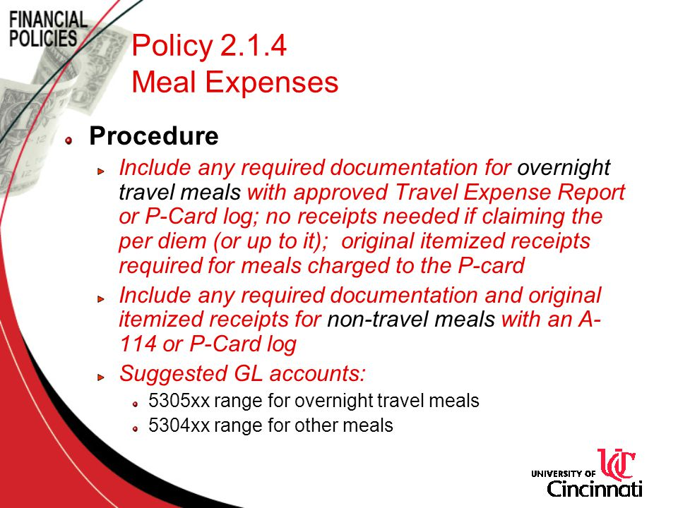 Policy 2.1.4 Meal Expenses Procedure