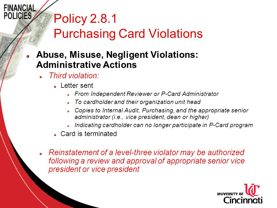 Policy 2.8.1 Purchasing Card Violations