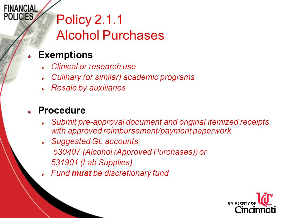 Policy 2.1.1 Alcohol Purchases