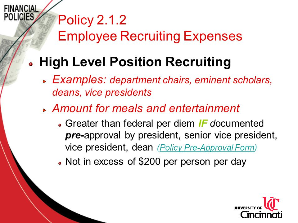 Policy 2.1.2 Employee Recruiting Expenses