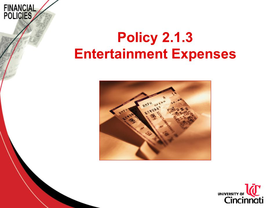 Policy 2.1.3 Entertainment Expenses