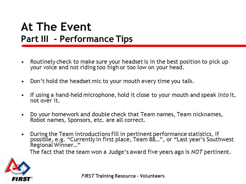 At The Event Part III - Performance Tips