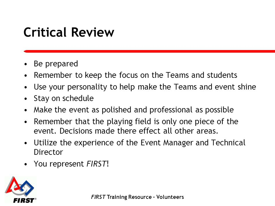 FIRST Training Resource – Volunteers