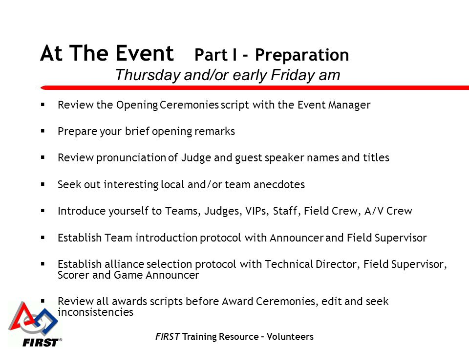 At The Event Part I - Preparation