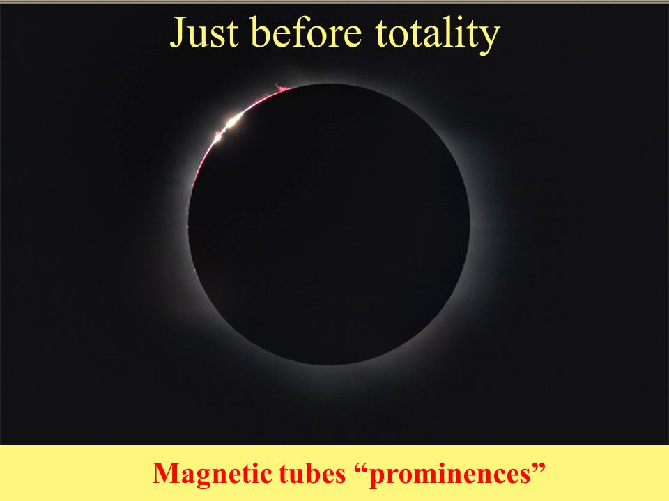Just before totality 2nd Contact Magnetic tubes prominences