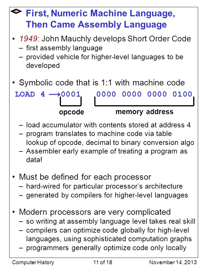 First, Numeric Machine Language, Then Came Assembly Language