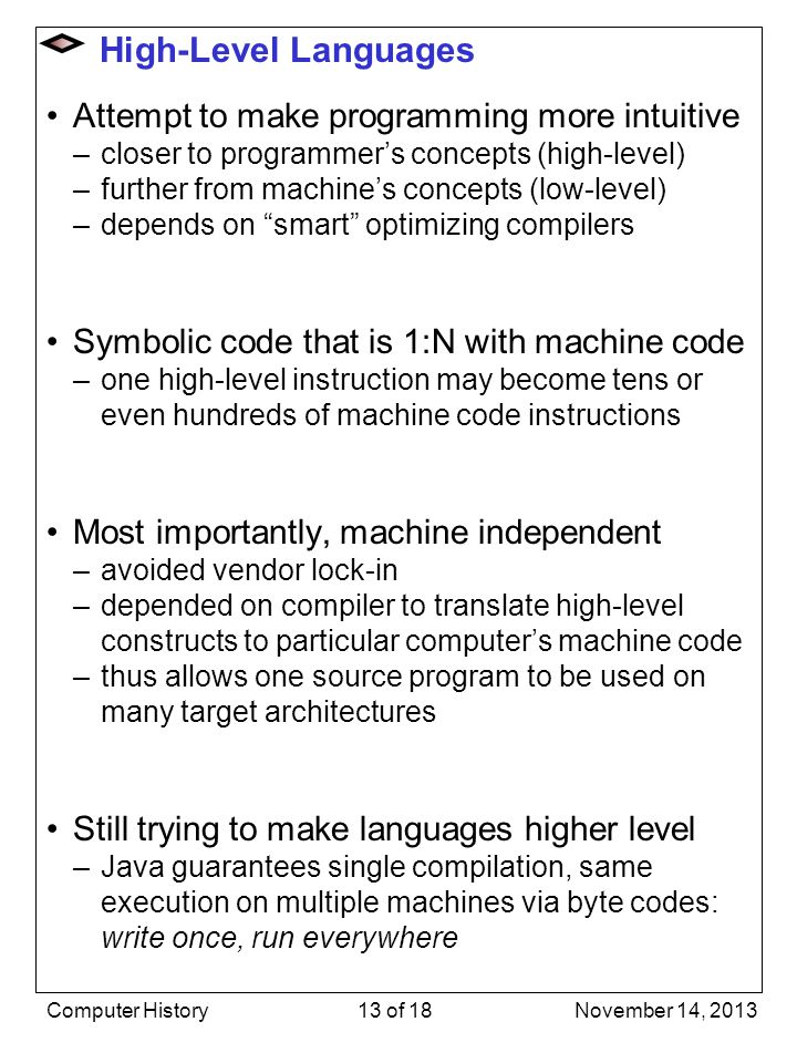 High-Level Languages Attempt to make programming more intuitive