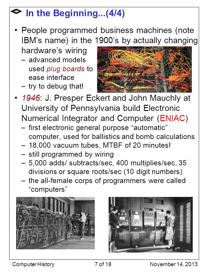 In the Beginning...(4/4) People programmed business machines (note IBM's name) in the 1900's by actually changing hardware's wiring.