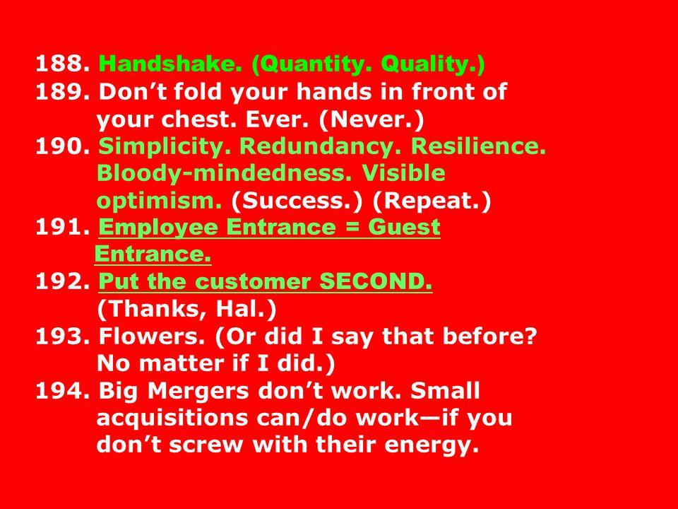 188. Handshake. (Quantity. Quality. ) 189