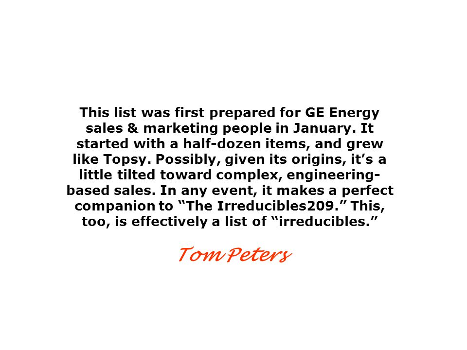 This list was first prepared for GE Energy sales & marketing people in January.