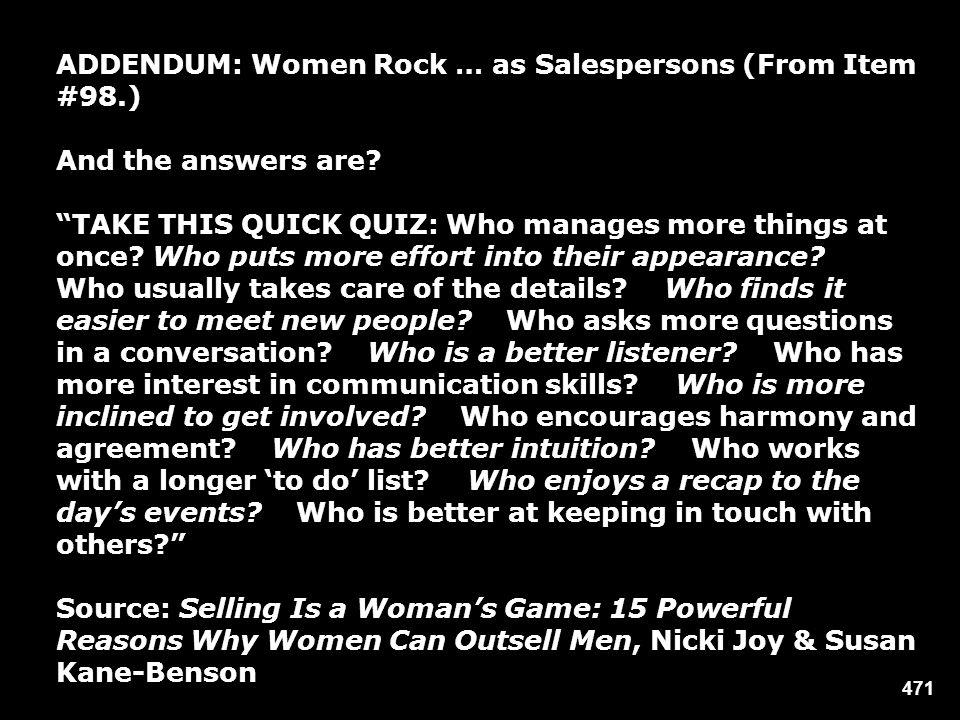 ADDENDUM: Women Rock … as Salespersons (From Item #98.)
