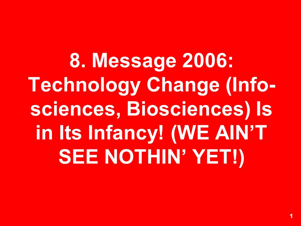 8. Message 2006: Technology Change (Info-sciences, Biosciences) Is in Its Infancy.