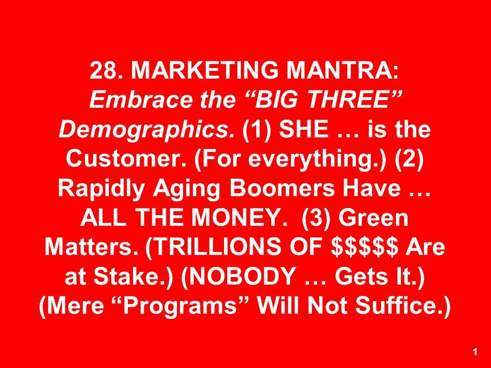 28. MARKETING MANTRA: Embrace the BIG THREE Demographics