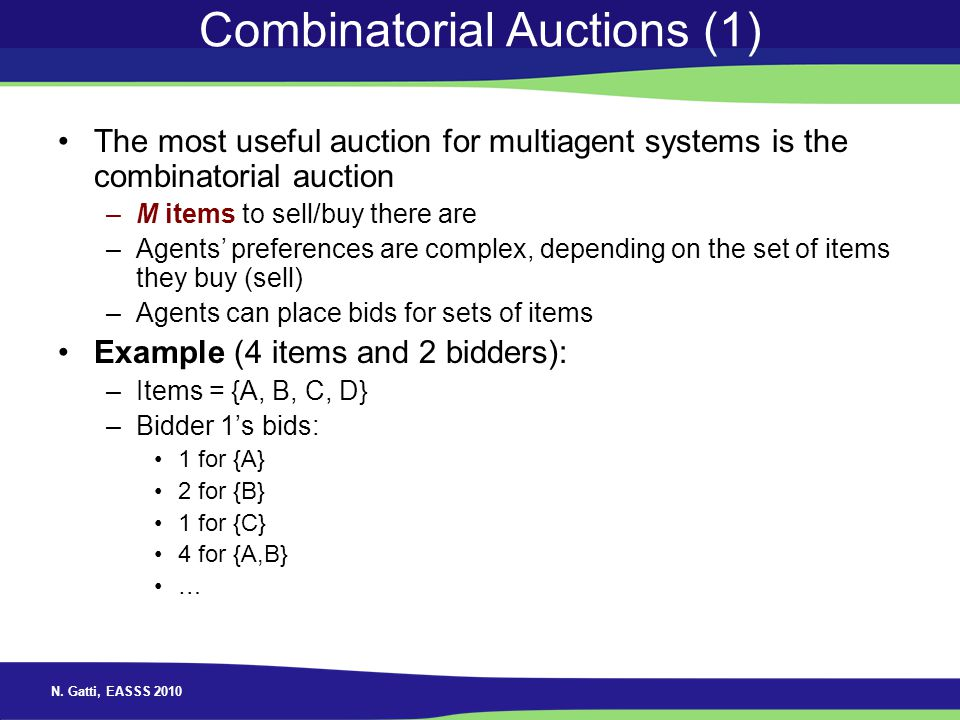 Combinatorial Auctions (1)